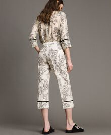 Floral print linen trousers Toile De Jouy Black Print Woman 191TT2461-03