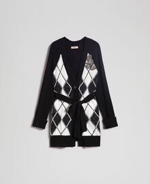 Maxi cardigan with diamond patterned inlays and embroidery Inlay Black Woman 192TP3220-0S