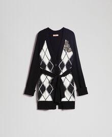 Maxi cardigan avec incrustation en losanges et broderie Noir Incrustation Femme 192TP3220-0S