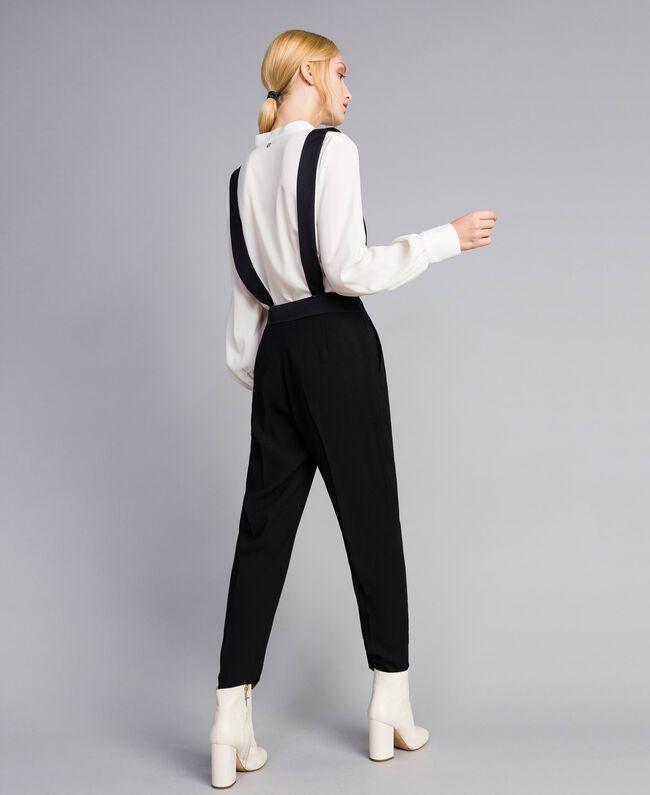 Drainpipe trousers with braces Black Woman SA82DE-04
