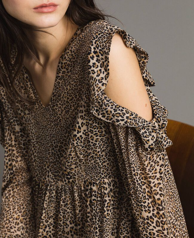 Animal print georgette dress Mixed Animal Print Woman 191TP2722-04