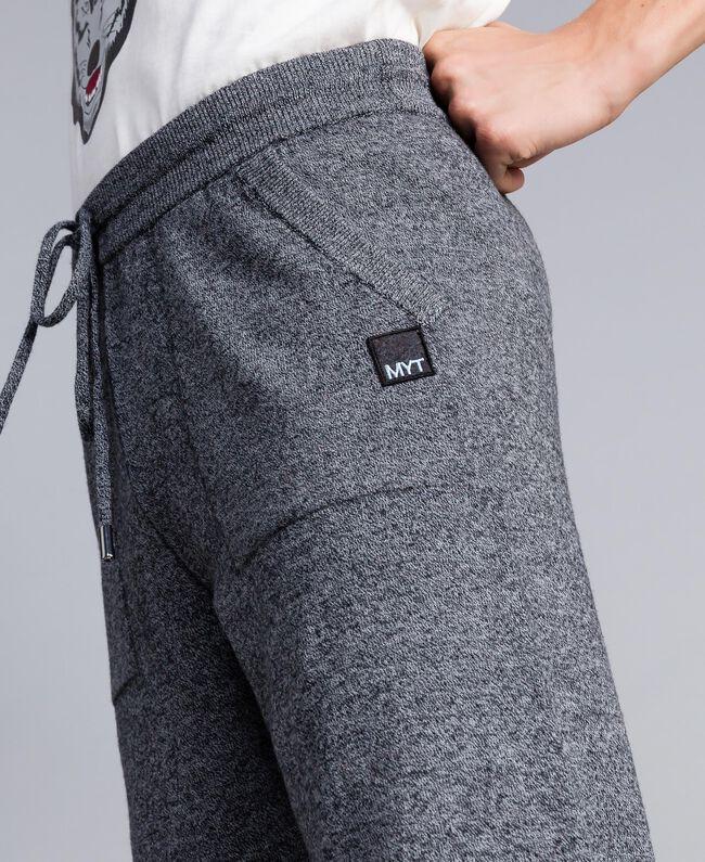 Pantaloni joggin in cotone e lana Bicolor Bianco Opaco / Nero Uomo UA83BC-04