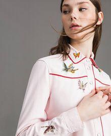 Chemise en denim ornée d'un papillon Perle Rose Femme 191TP2630-01