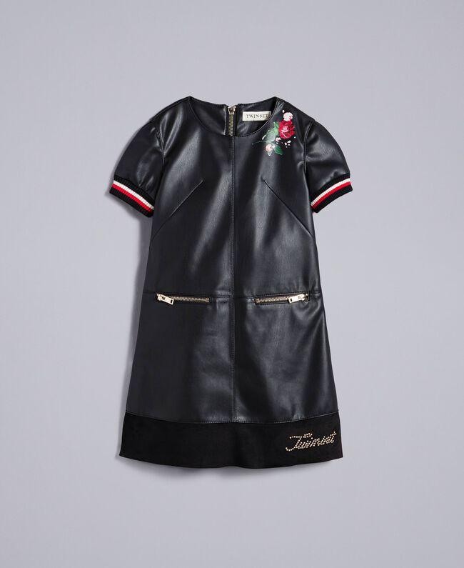 """Mini abito in similpelle con ricami Bicolor Nero / Rosso """"Papavero"""" Bambina GA82B2-01"""