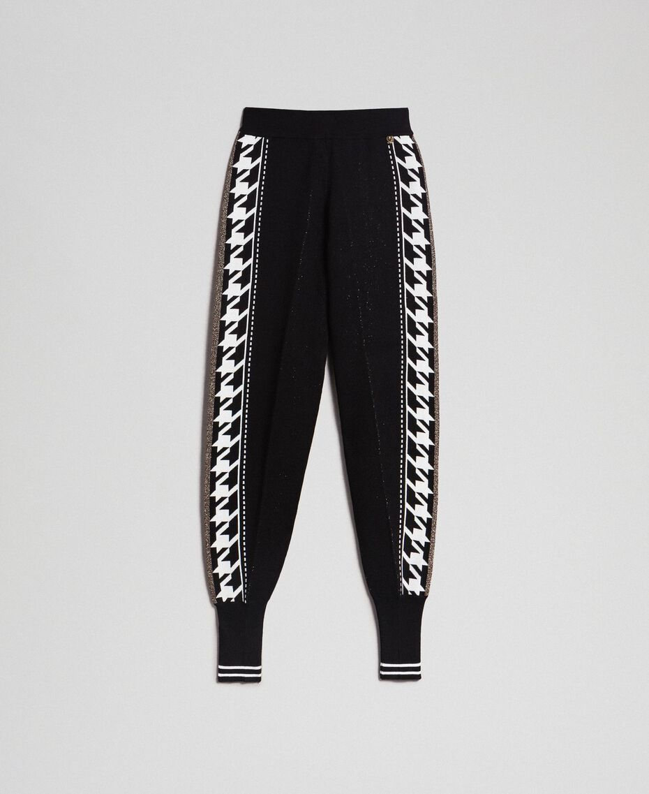 """Jogging trousers with lurex band on the sides Black / """"Vanilla"""" White Woman 192MT3111-0S"""