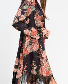 Vestaglia in twill stampata a fiori Stampa Nero Fiore Donna LA8KRR-04