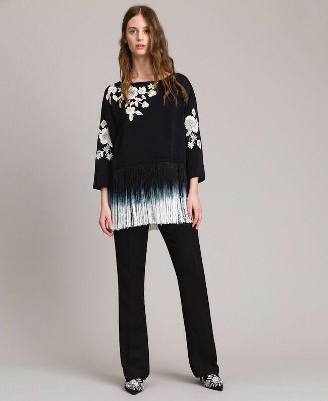 Blouse avec broderies florales et franges Noir Femme 191TT2130-0T