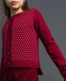 Cardigan with all over studs Ruby Wine Red Child 192GJ3093-04