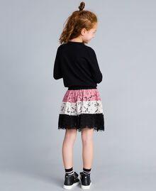 Jupe corolle en dentelle multicolore Multicolore Rose «Blush» / Noir / Roses Enfant GA82QB-03