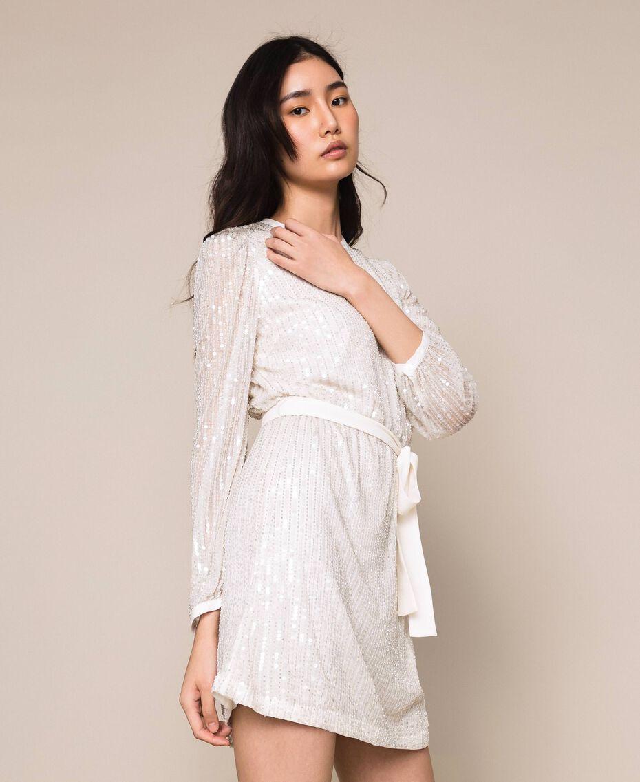 Платье, полностью расшитое пайетками и канителью Слоновая кость женщина 201TP2051-02