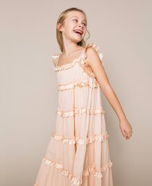 Full-length muslin and satin gown Bud Pink Child 201GJ2Q40-03