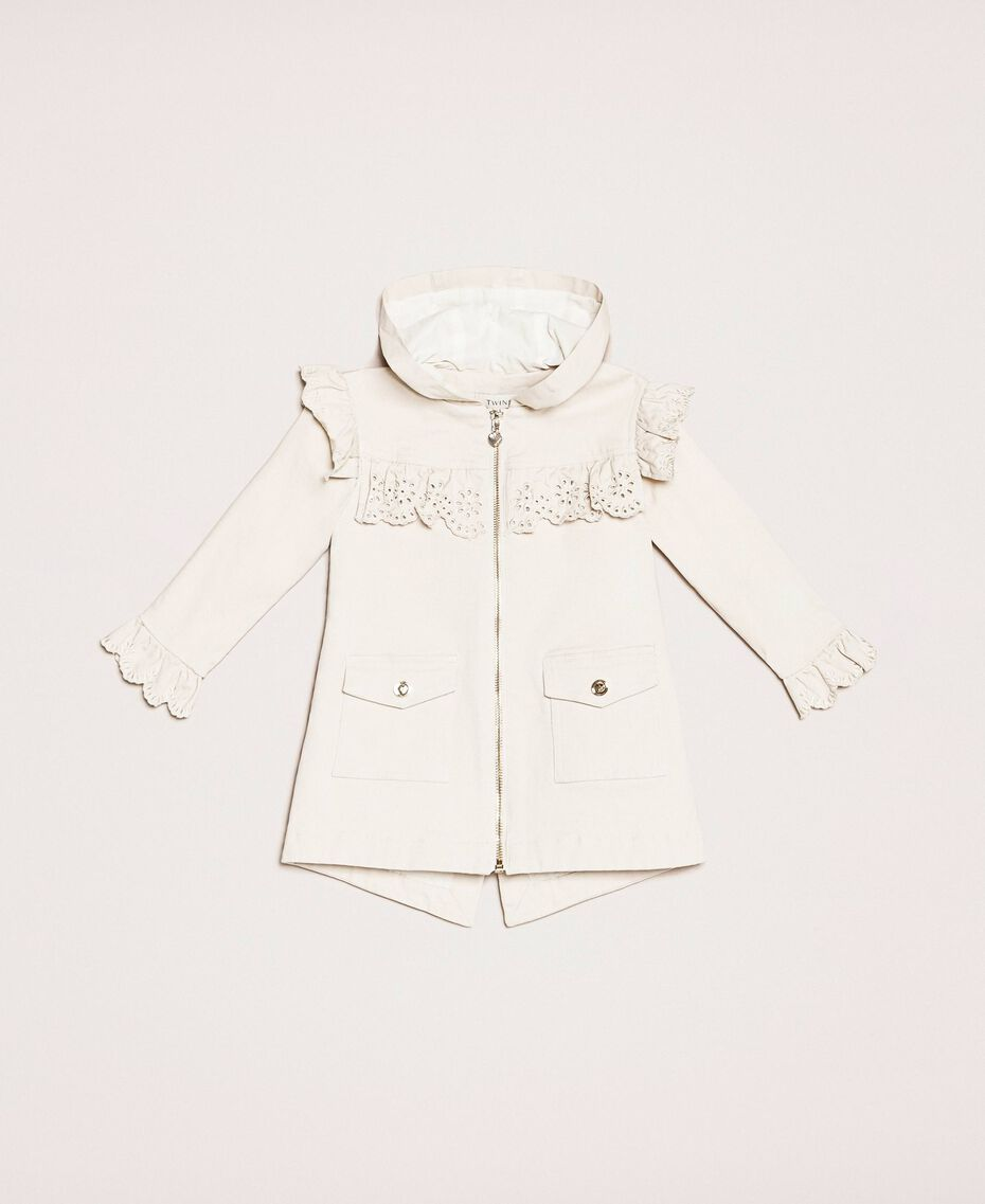 Canvas parka coat with broderie anglaise embroidery Pale Cream Child 201GB2152-01