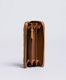 Geldbörse aus Lederimitat mit Aufnähern Karamellbraun / Stern Frau RA8TGP-03