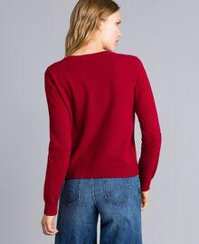 """Maglia in misto lana con cuore Ricamo Rosso """"Lampone Scuro"""" Agugliato Donna TA83JE-03"""