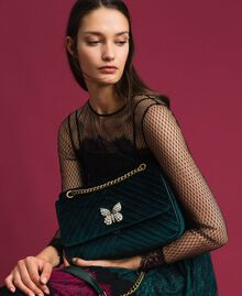 Quilted velvet shoulder bag Dark Green Woman 192TA7090-0S