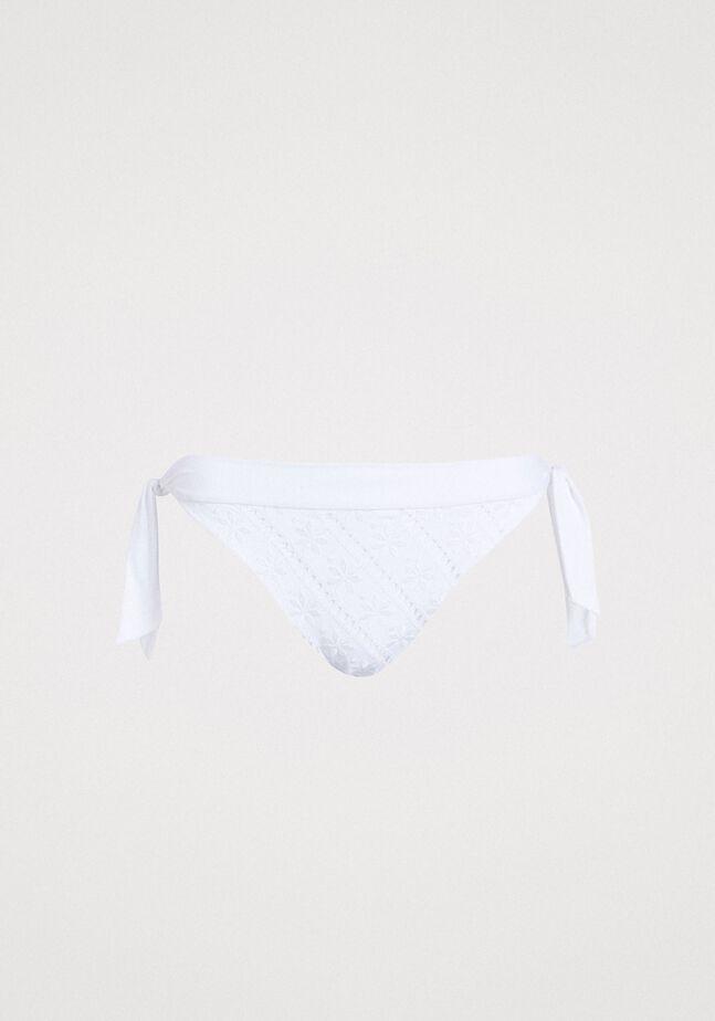 Brazilian bikini bottom with broderie anglaise embroidery