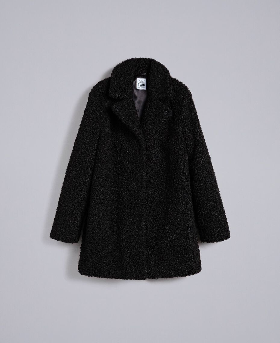 Mantel aus Lammfellimitat Schwarz Frau JA82KN-0S