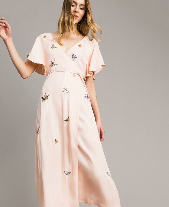 "Satin long dress with butterfly embroidery ""Rose Sand"" Pink Woman 191TT2112-01"