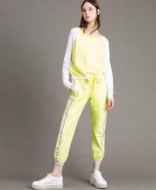 """Pull avec imprimé effet dentelle Bicolore Blanc Optique / Jaune """"Jus de Citron"""" Femme 191LL36BB-02"""