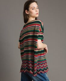 Maxi striped lurex jumper Multicolour Striping Woman 191ST3141-04