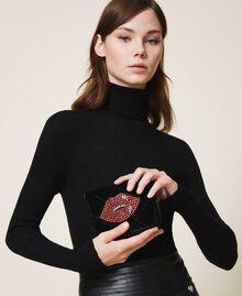 Velvet shoulder bag with patch Black Woman 202TD8280-0S