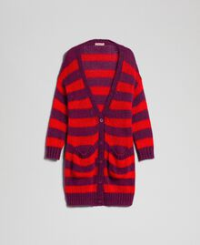 Striped mohair maxi cardigan Beet Red / Pomegranate Stripe Woman 192TP3272-0S
