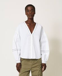 Blouse en popeline avec clous Blanc Femme 211TT2482-06