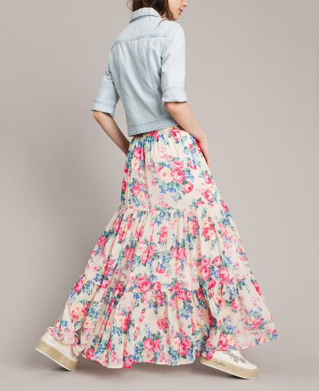 Printed georgette skirt with flounces Cloth White Flowers Print Woman 191MP2337-03