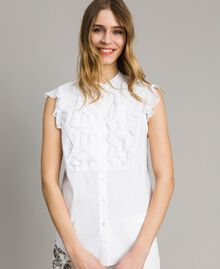 Popeline-Hemd mit Rüschen Weiß Frau 191TT2260-01