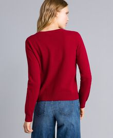 "Wool blend jumper with heart ""Dark Raspberry"" Red Needle Punch Embroidery Woman TA83JE-03"