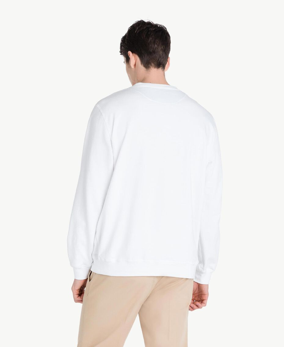Sweat-shirt rayures Blanc Opaque Homme US821P-03