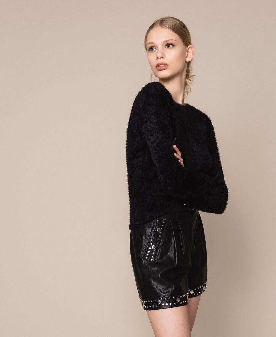 Maglia-cardigan in filato effetto pelliccia Nero Donna 201TP3091-03