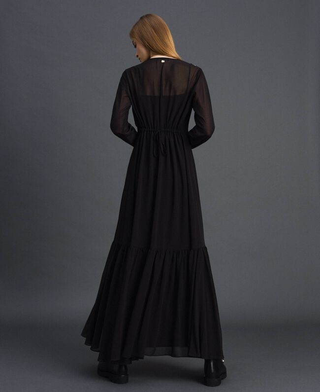 Long georgette dress with beads and studs Black Woman 192MP2481-03