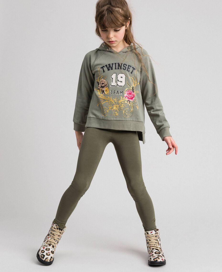 Leggings aus Jersey mit Spitze Rosa Bouganville Kind GCN2F4-02
