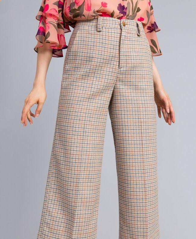 Check flannel cropped trousers Multicolour Check Woman TA8212-04