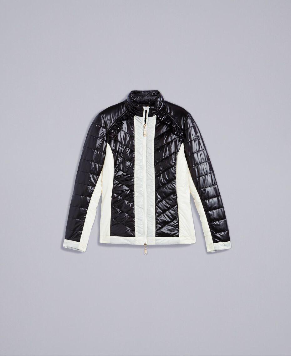 Zweifarbige Steppjacke aus Nylon Zweifarbig Schwarz / Weiß Frau IA85JJ-0S