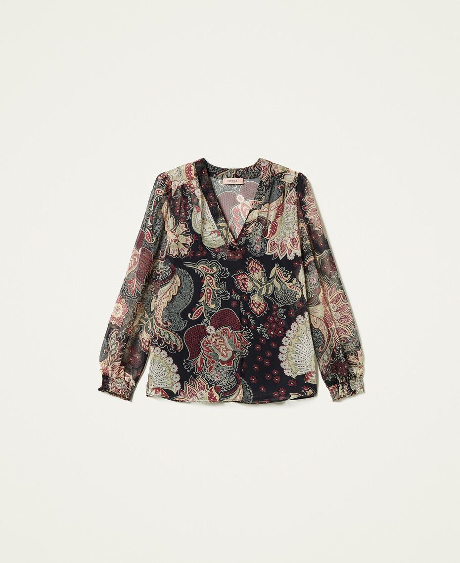 Blusa in creponne a fiori Stampa Indiam Flower Nero Donna 212TP2642-0S