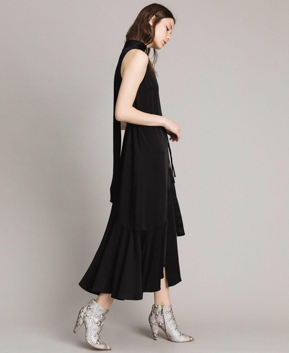 Long dress with bow and slit Black Woman 191TP269A-02