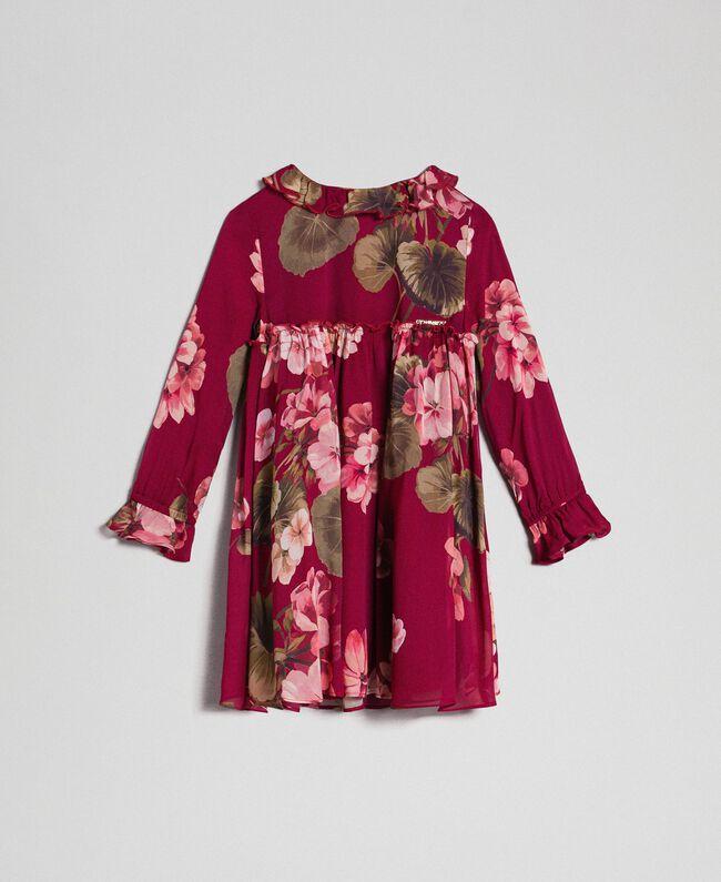 Floral print georgette dress Beet Red Geranium Print Child 192GB2720-01
