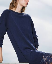Трикотажное платье с кружевным подолом Синий Blackout женщина 202LI3RFF-01
