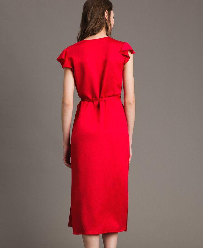 "Vestido largo de raso de lino Rojo ""Lipstick Red"" Mujer 191TT2303-04"