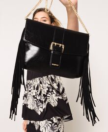 Leather shoulder bag with fringes Black Woman 201TO8142-0T