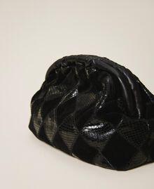 Diamond leather maxi pochette Two-tone Black / Black Diamonds Woman 202TD8033-04