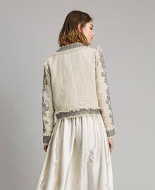 """Veste en lin ornée de perles et de sequins Beige """"Sable"""" Femme 191TT2060-03"""