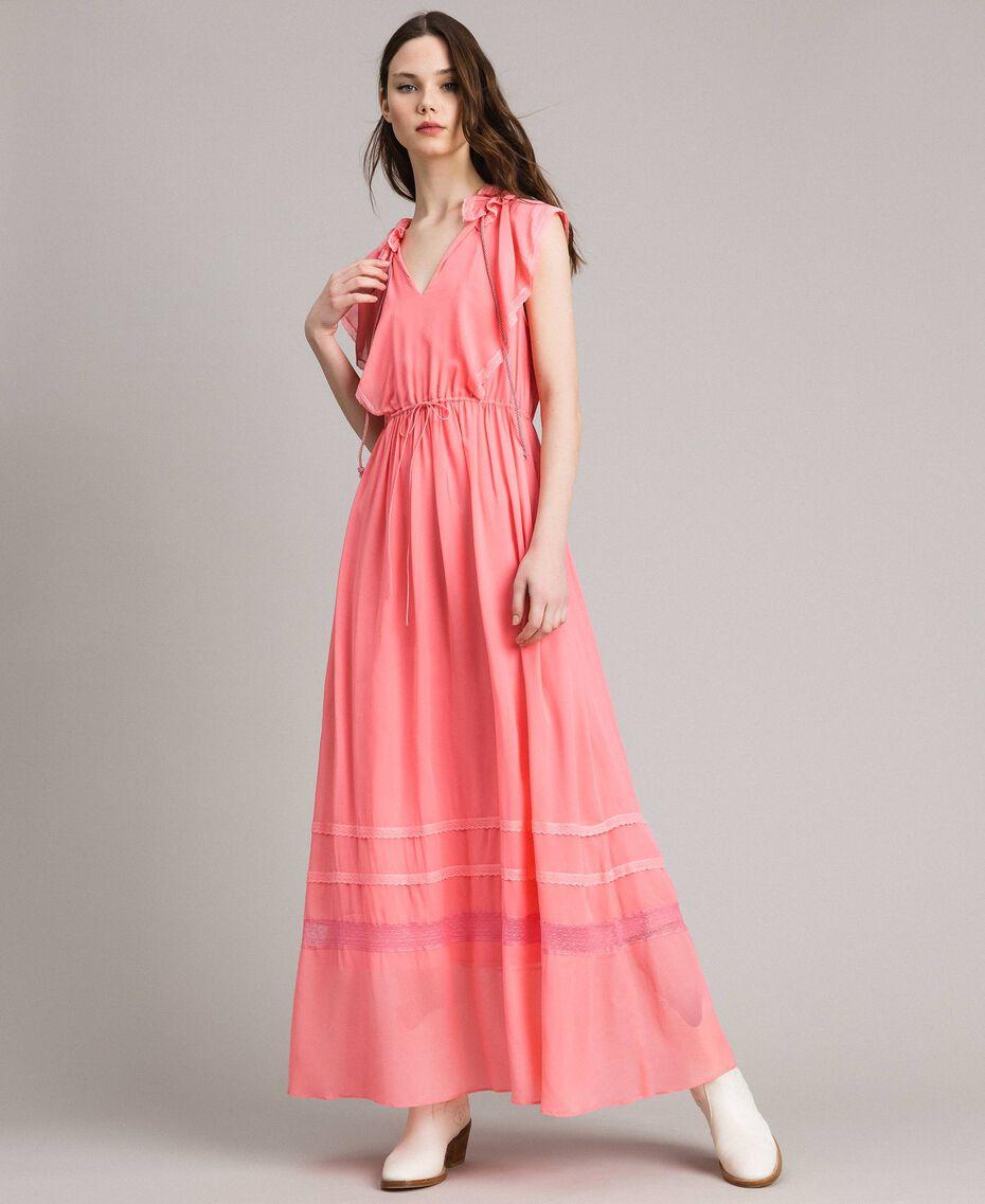 """Robe longue en georgette et dentelle Rose """"Églantine"""" Femme 191TP2370-01"""