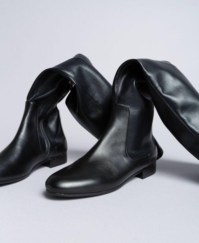 Stivali cuissardes in tessuto stretch Nero Donna CA8PMS-04