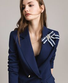 Double-breasted blazer jacket with cockade Indigo Woman 191MP2150-04