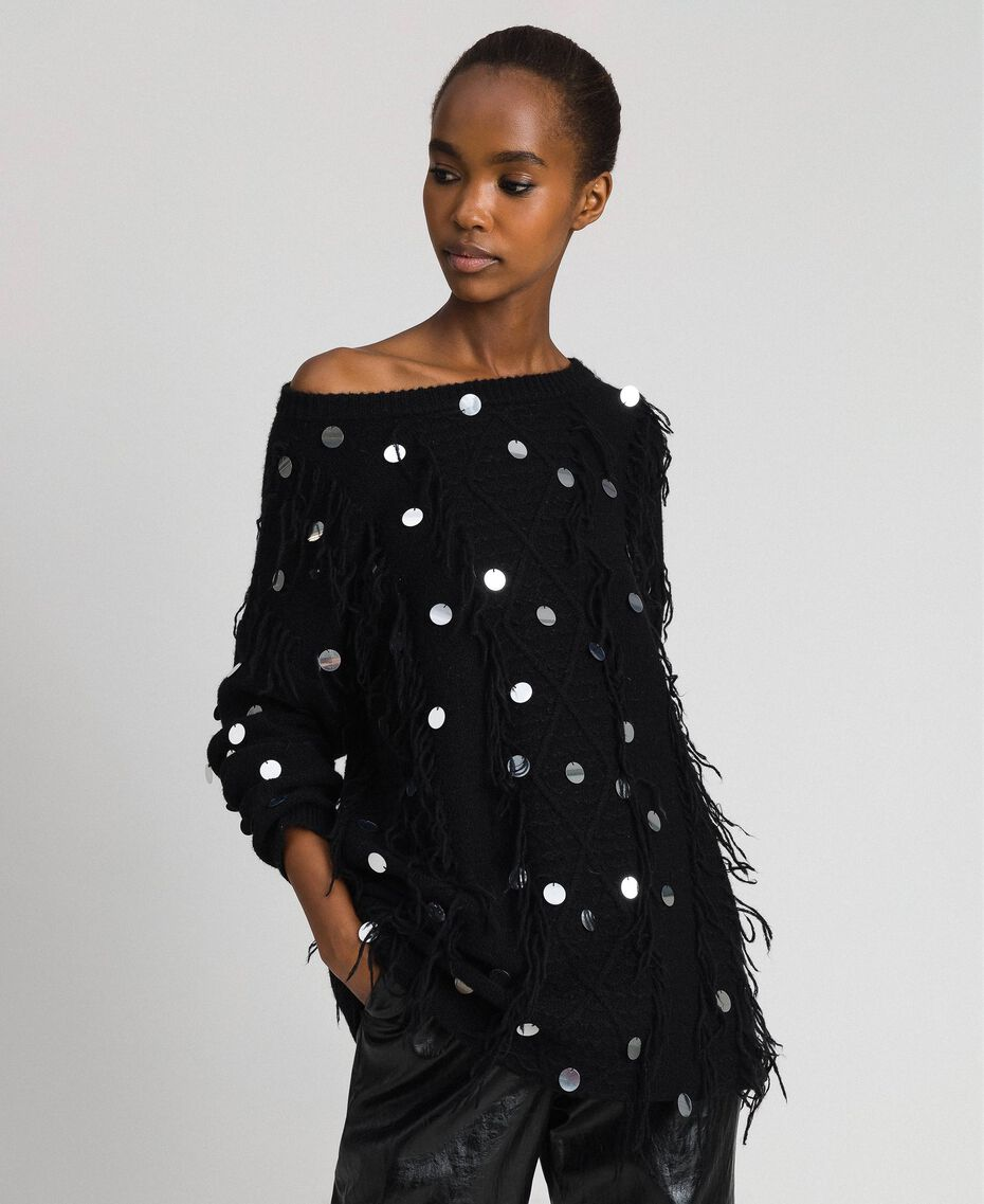 Mohair and wool maxi jumper with sequins Black Woman 192ST3020-01