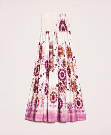 Юбка-платье из набивного атласа Принт Неровная окраска Кокетливая Роза женщина 201LB2GLL-0S