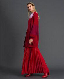 Maxi cardigan avec bande en lurex et broche Rayé Rouge «Samba» / Violet Femme 192ST3081-04